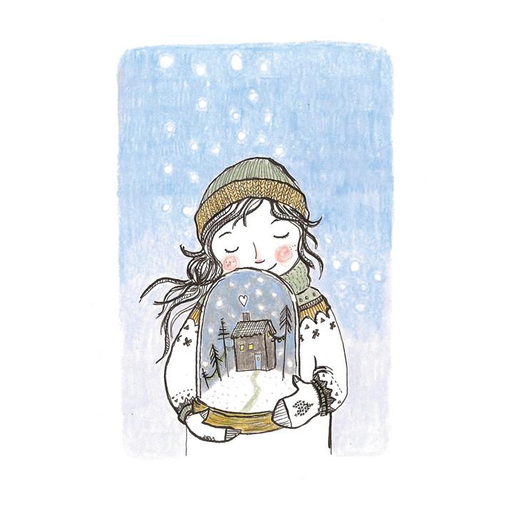 meisje met sneeuwbol