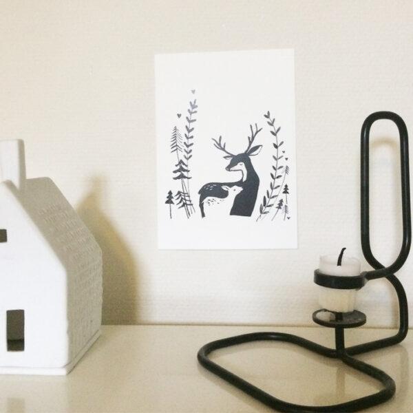 my lovely deer postcard