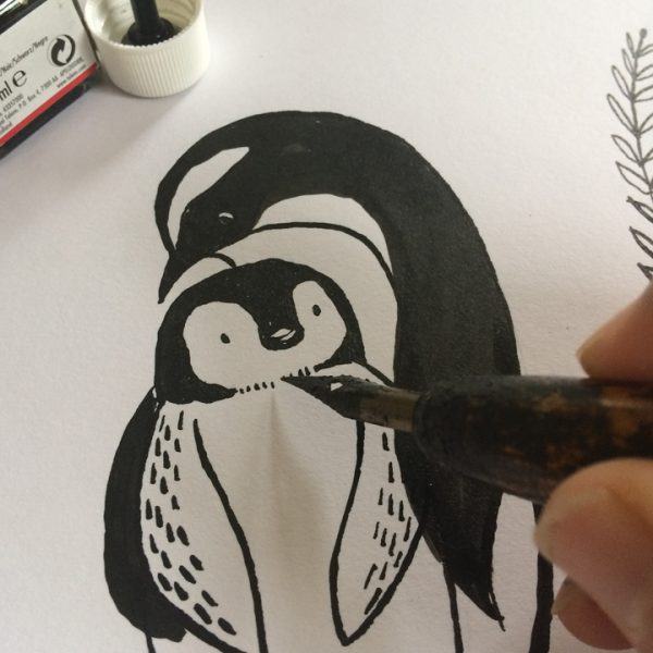 pinguin en jong illustratie